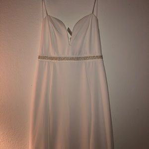 white deep v neck long formal dress with pearls